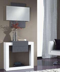 Meuble d'entrée moderne SANDY + miroir , disponible en 2 coloris, Meuble d'entrée - HcommeHome