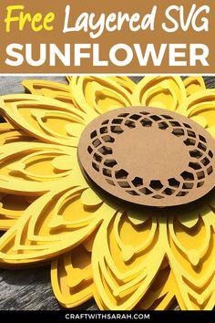 Sunflower Crafts, Sunflower Design, Paper Sunflowers, Cricut Tutorials, Cricut Ideas, 3d Paper Crafts, Cricut Vinyl, Cricut Air, Cricut Craft
