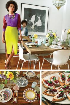 Top: Knowles, in a Madewell blouse and skirt and Pierre Hardy shoes, preps the dining room with Julez; a Malick Sidibé photograph hangs in the background. Bottom: She sources tableware from Anthropologie and Williamsburg's mc&co; Taylor's goat-cheese- and-cherries dessert. - ELLE.com