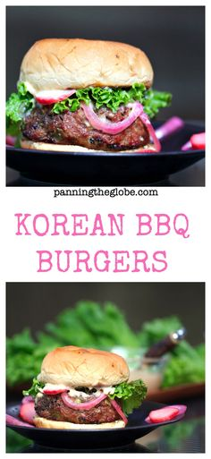 Korean BBQ Burgers: the incredible flavors of Korea's famous bulgogi beef are mixed into these burgers. They are SO delicious!!