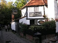 "The ""Ye Olde Fighting Cocks"" pub in St Albans, Hertfordshire, an century building on an century site, currently holds the Guinness World Record for the oldest pub in England. Ron's parent lived here. Had lunch there:) British Pub, British Isles, Wales, Beer Cellar, Pigeon House, Local Legends, Old Pub, England, Pub Signs"