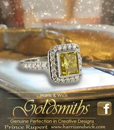 "19 Karat White Gold 3.13 Carat Radiant Cut Yellow Diamond Halo Style Ring on Sid Dickens ""Promise"" Memory Block @SID DICKENS"