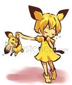 Pokemon Gijinka Pichu Yellow Cosplay Costume