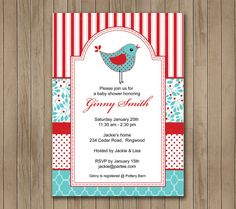 Baby Shower Invitation  Red and Blue Bird by TracyAnnPrintables