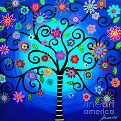 Tree Of Life Mexican Paintings Super Ideas Mexican Artwork, Mexican Paintings, Mexican Folk Art, Tree Of Life Artwork, Tree Of Life Painting, Tree Art, Posca, Dot Painting, Whimsical Art