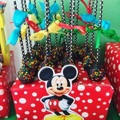 Cool cake pops at a Mickey Mouse clubhouse birthday party! See more party planning ideas at CatchMyParty.com!