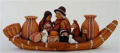 Peruvian clay Large Nativity in Boat Christmas Ornament