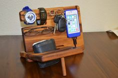 iPhone 6 Stand , iPhone 6 Dock, Watch Mens Gift, Valet, Gift Wedding Ring Holder Anniversary Christmas Present – Tiger Wood