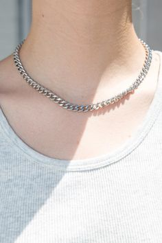 Silver cuban link necklace with an adjustable lobster clasp closure. All accessories are final sale. Fabrics: Lead, nickel, and cadmium compliant Girls Jewelry, Cute Jewelry, Jewelry Accessories, Women Jewelry, Emo Jewelry, Jewelry Ideas, Grunge Jewelry, Jewelery, Jewelry Necklaces