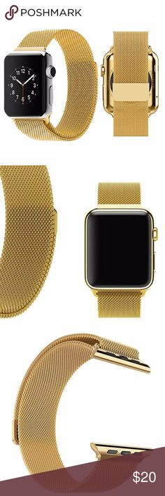 NEW Gold Stainless Band For Apple Watch 42mm ▪️Brand new in packaging   ▪️Fits Apple watch sizes 42mm   ▪️Milanese mesh w/ magnetic closure   ▪️High Quality 360L stainless steel   ▪️*Watch not included*   ▪️Same or next business day shipping! Accessories Watches