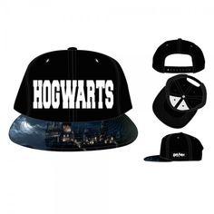 Harry Potter Hogwarts Embossed Logo Baseball Cap Hat Sublimated Flat Brim