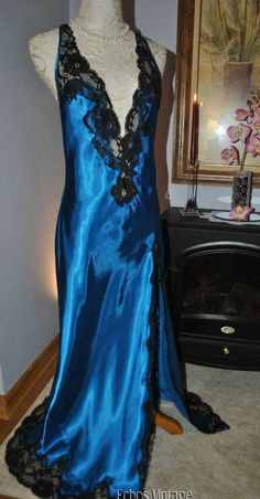 Vintage VICTORIA SECRET Lace Teal Satin Full Length Long Nightgown M-36 FREEShip #VictoriasSecret #Gowns