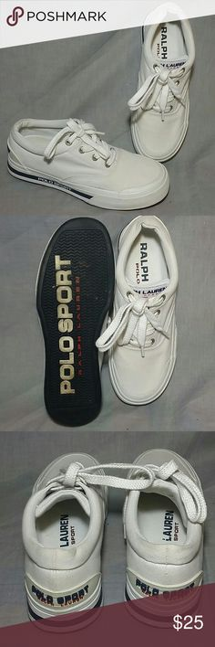 POLO SPORT RALPH LAUREN Shoes 8.5 M Canvas women's Polo sport Ralph Lauren shoes Size 8.5 M white canvas lace up item is in a good condition. Ralph Lauren Shoes Sneakers