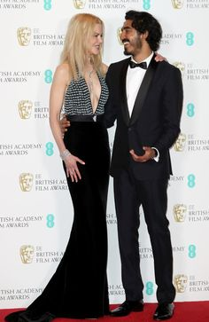 Nicole Kidman, pictured with her Lion co-star and BAFTA winner Dev Patel, had a JLo moment. Picture: Getty Images