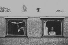 Brides into a caravan wedding