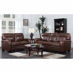 Montecello Top Grain Leather Sofa and Loveseat