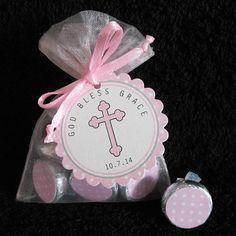 Personnalisé Hershey Kiss baptême Favor Set, baptême Favor Set, Communion Favor Set, pink cross sur sacs organza blanc, rose, lot de 50 sur Etsy, 46,84€