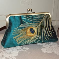 Peacock Feather Embroidered Silk Clutch/Purse  Teal  by Paulownias