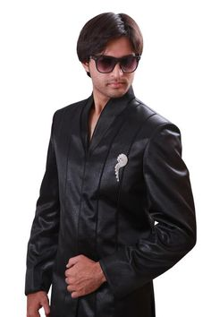 473dba30260 Black Indian Wedding Indo-Western Sherwani for Men