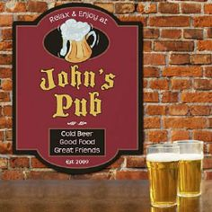 Cold Beer Pub Personalized Wall Sign  #Home
