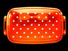 Japanese Bento Box With Divider Polka Dots CLEAR ORANGE