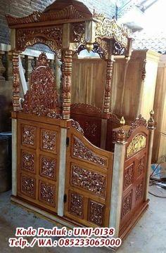 Mimbar Masjid Ukir Jepara Berkaligrafi Arab bisa anda pesan via whatsapp http://bit.ly/2Flkdgi