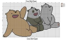 Cross stitch pattern of the cast of We Bare Bears: Grizz, Panda, and Ice Bear. They're so cute together. Download the PDF here:bears-pattern Grid Size: 152W x 93H Design Area: 10.71″ x…