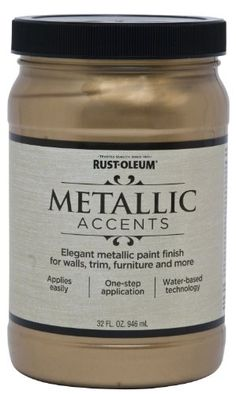 Rust-Oleum Metallic Accents 253537 Decorative 32-Ounce Quart Water Based One Part Metallic Finish Paint, Soft Gold