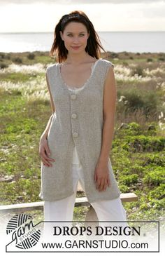 """DROPS long vest knitted in garter sts with """"Bomull-Lin"""" and buttons in """"Cotton Viscose"""" ~ DROPS Design"""