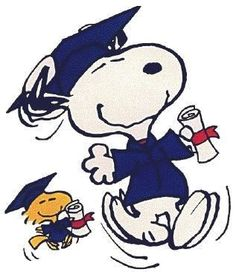 Snoopy & Woodstock with diplomas. by dorothy