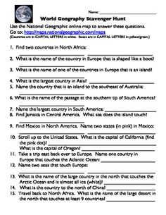 Free lesson materials for high school and middle school classrooms world geography scavenger hunt answer key gumiabroncs Gallery