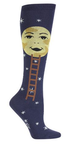 Reach new heights with a knee high pair of socks that will take you out of this world… or to the moon, to be exact. By slipping on this fun pair of space socks, watch as you climb the fashion ladder,