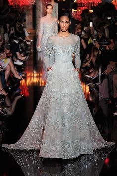 Elie Saab | Fall 2014 Couture | 46 Silver belted embellished long sleeve maxi dress