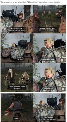 HTTYD. Riders of Berk. I love how Astrid is so caring toward Hiccup and gets irritated when the others start to leave. :)