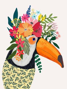 Items similar to Toucan with Floral Crown Art Print – Funny Decoration Gift – Cute Room Decor – Poster by Mia Charro on Etsy Flower On Head, Flower Crowns, Baby Flower, Crown Art, Crown Decor, Cute Room Decor, Guache, Bird Illustration, Flower Illustrations