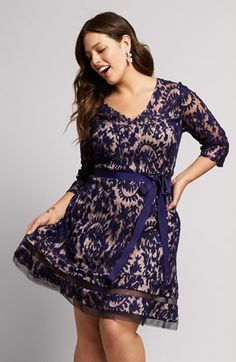 ca2cfa7d02dce Adrianna Papell Lace Fit   Flare Dress (Plus Size)
