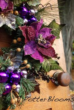 Purple Passion Christmas Eggplant Pine Wreath by JPotterBlooms, $62.00