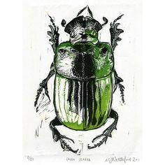 Egyptian scarab beetle linocut // Beautiful!