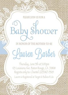 baby shower invitation blue burlap lace baby by