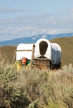 An old wagon at the National Historic Oregon Trail Interpretive Center at Baker City.