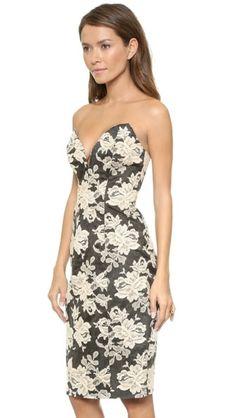 Lace Print Strapless Dress