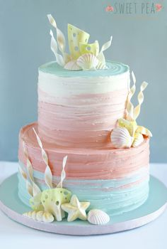 MERMAZING Ideas for Mermaid Birthday Cakes that your kid will LOVE - even some DIY Mermaid Cakes! Find cakes that will inspire the best Mermaid cake ever! Pretty Cakes, Cute Cakes, Beautiful Cakes, Amazing Cakes, Mermaid Birthday Cakes, Mermaid Cakes, Beach Birthday Cakes, Rustic Birthday Cake, Baby Shower Cakes