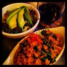 Spicy Quinoa Vegetable Stir Fry and Kale Salad at The Fritz, Salida, CO