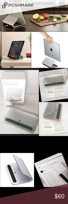 NEW Logitech iPad Pro (9.7 & 12 in)Charging Stand NEW Logitech iPad Pro 9.7 - 12 inch Charging Stand & Smart Connector Technology (939-001470) Optimized viewing angle for use on kitchen counter, work desk, bedside table Smart modern design made of high-quality premium aluminum looks great with iPad Pro Solid stand provides a sturdy docking spot with anti-slip padding and non-tip-over design. Made for iPad certification meets Apple safety and quality requirements, Never used. Open box, New…