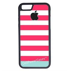 CellPowerCasesTM Pink Blue Stripes iPhone 6 (4.7) Protective V1 Black... ($13) ❤ liked on Polyvore featuring accessories, tech accessories and black