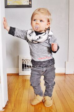 Baby Child Toddler Infinity Scarf // Organic Cotton Kids Circle Cowl // Hipster Baby Black and White Scarf