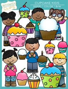 The Cupcake Kids clip art set contains 23 image files, which includes 13 color images and 10 black & white images in png. All images are 300dpi for better scaling and printing.