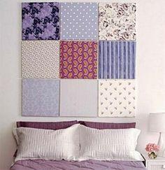 quadros artesanais com tecido colorido