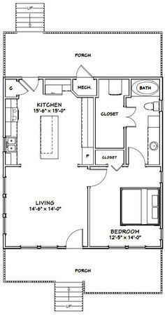 Br House, Tiny House Living, Granny Pods, 1 Bedroom House Plans, Small House Floor Plans, Cob House Plans, Guest House Plans, Unique Floor Plans, Garage Apartments