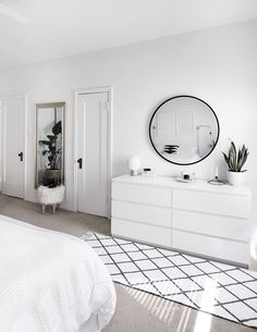 How to Keep a Rug From Slipping How to Keep a Rug From Slipping – Homey Oh My Warm Cozy Bedroom with Beautiful Rug Decoration PaBridge & Tunnel Interior. Here you get Rustic Bedroom Design and Decor Ideas f Room Ideas Bedroom, Home Bedroom, Bedroom Inspo, Bedroom Inspiration, White Bedroom Decor, Ikea Bedroom Design, Minimalist Bedroom, Minimalist House, Minimalist Interior